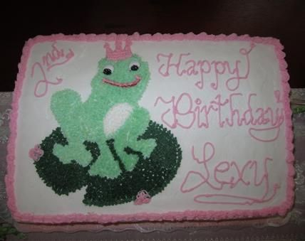 Homemade frog prince birthday cake