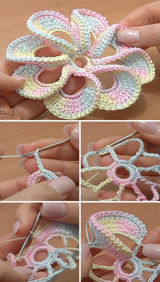 3d Spiral Flower Crochet Pattern Tutorial Pinterest Flower