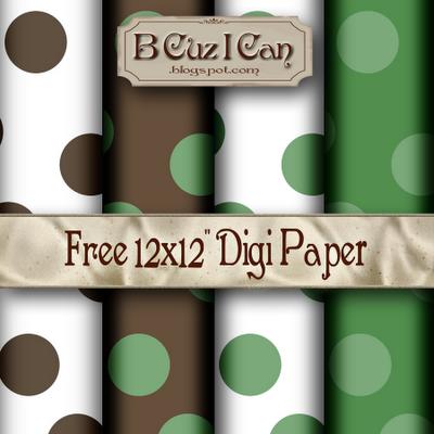 Free Green-Brown Dots Digi Scrapbook Paper Pack