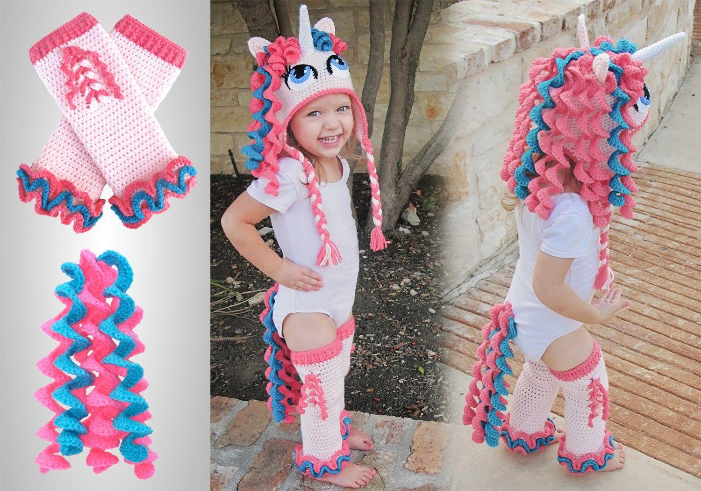 Crochet Unicorn Costume Pattern Pack. Easy Instructions for Cute Pony Beanie, Leggings & Tail to Mak #crochetpony
