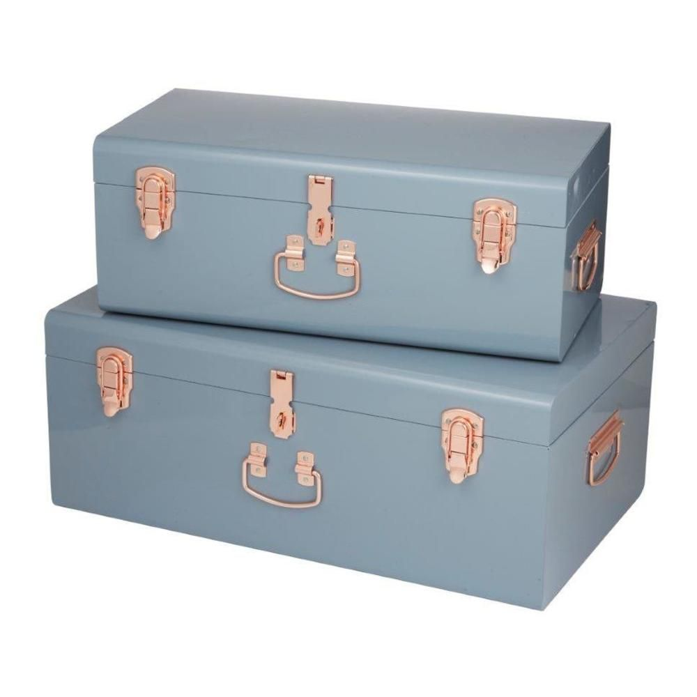 Storage Boxes Sydney Sydney Trunks Set Of 2 Grey Copper 26x52cm 36x60cm By All