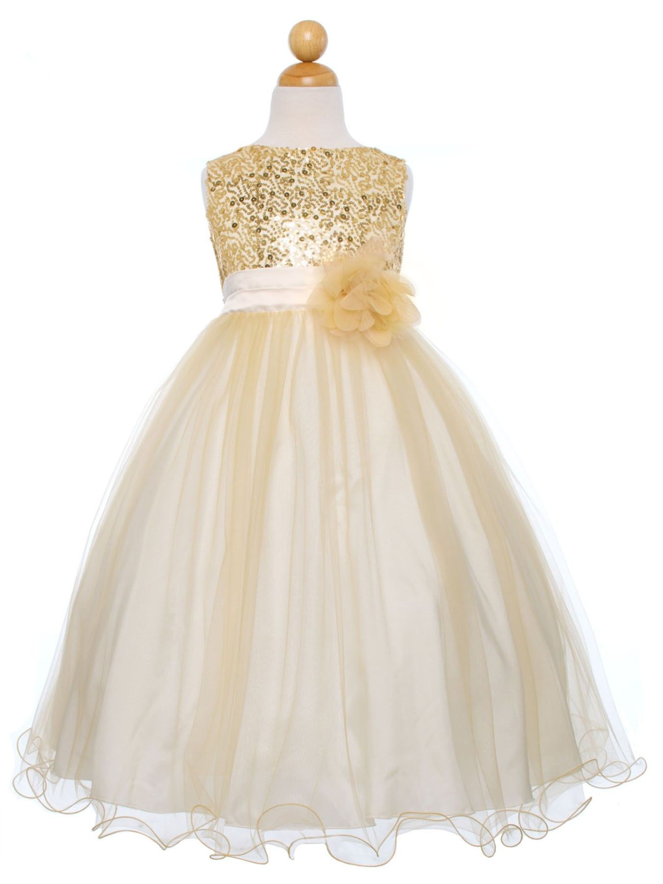Gold sequined bodice with double tulle skirt flower girl dress
