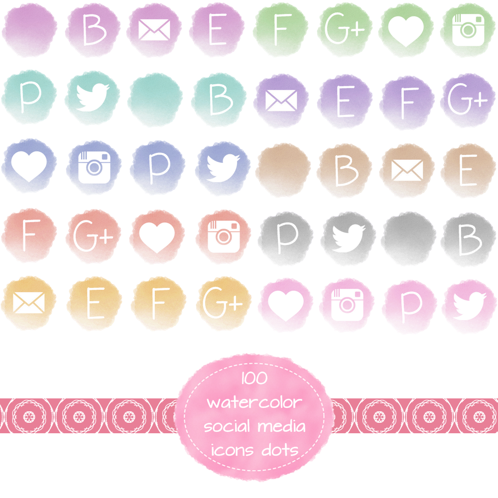 Yellow social media icons by mint102 on etsy logo business social media icons for blogs and websites in watercolor dot shape http magicingreecefo Images
