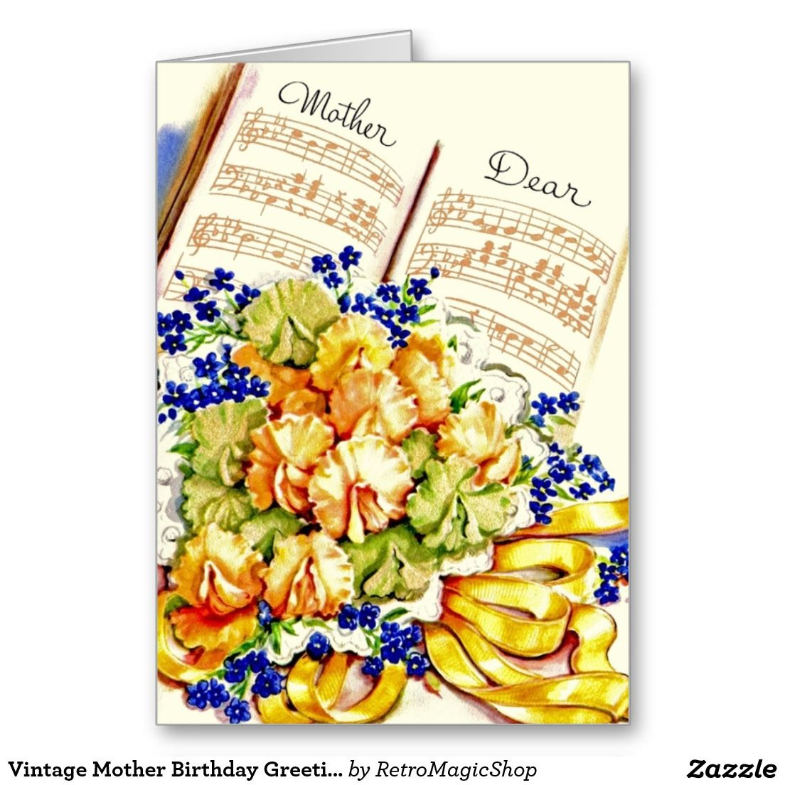 Vintage Mother Birthday Greeting Card Pinterest Mother Birthday