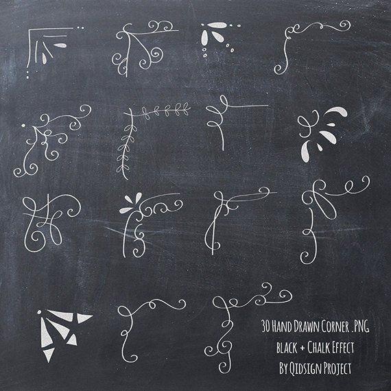 30 dessiné à la main coin clipart craie et noir album embellissent tout usage commercial Invitation tableau Blog graphique