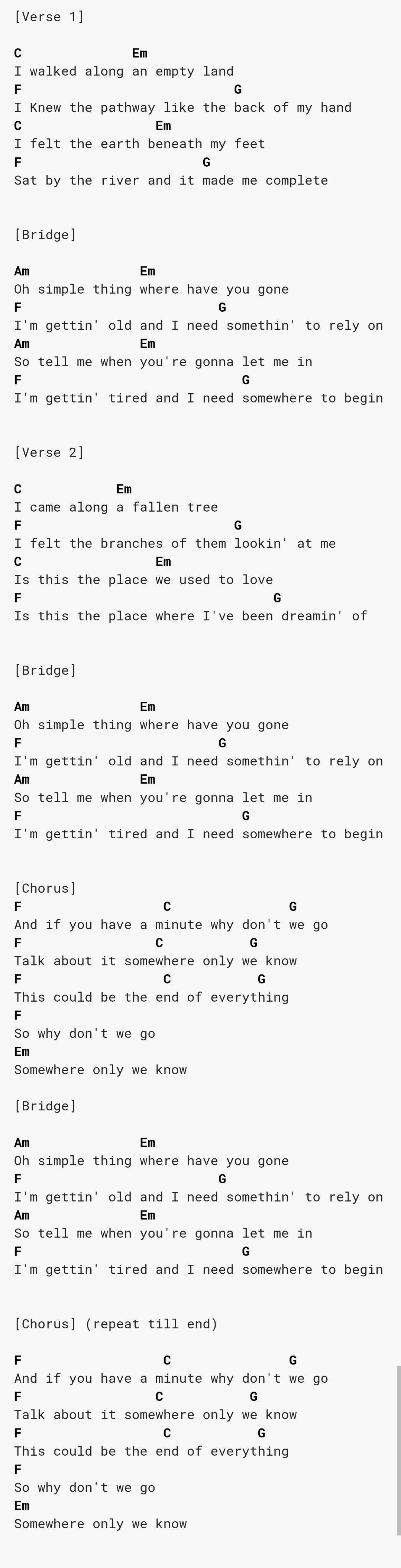 Somewhere Only We Know Keane Ukulele Songs Ukulele Chords