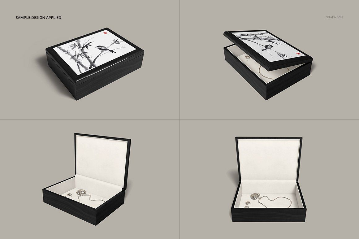 Download Tiled Wood Jewelry Box Mockup Set Wood Jewelry Box Wood Jewellery Box Mockup