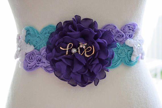 Flower Sash Dark Purple silver grey sash maternity sash flower Belt