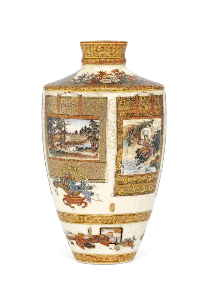 A FINE SATSUMA VASE - SIGNED DAI NIHON KINKOZAN ZO AND SOZAN, IMPRESSED SEAL TO THE BASE KINKOZAN ZO, MEIJI PERIOD (LATE 19TH CENTURY).