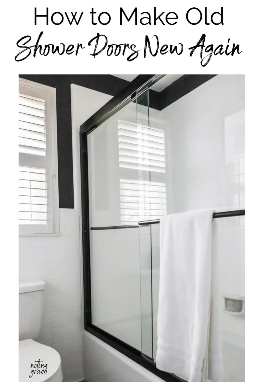 How To Make Old Shower Doors New Again Shower Door Remodel Shower Doors Diy Bathroom Makeover