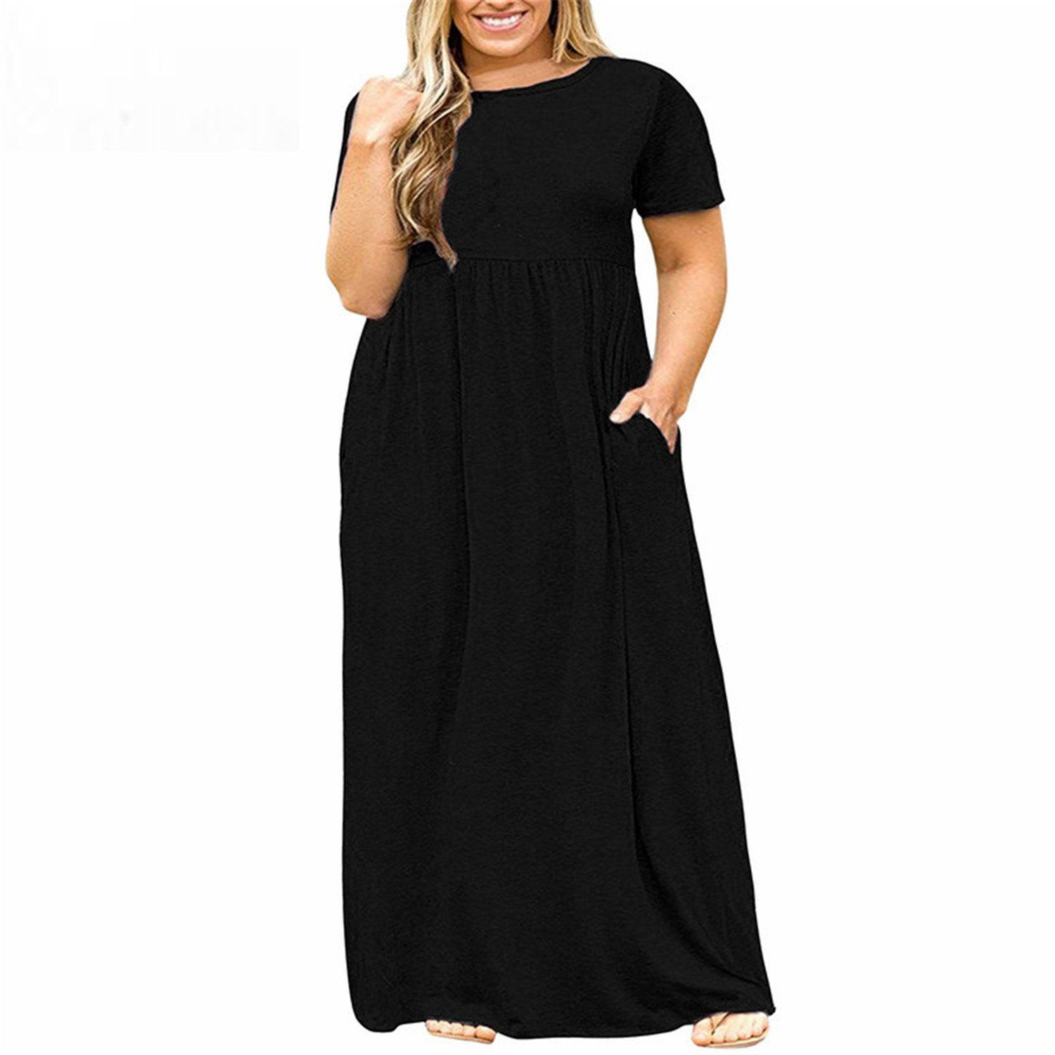 24da33969e1 Baqijian Women ONeck Short Sleeve Long Casual Dress Plus Size 7XL 8XL with  Pockets Solid Vintage Maxi Dress Black 9XL -- Check this awesome product by  going ...