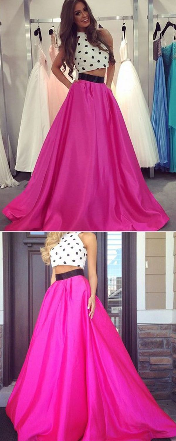 Two piece promevening dress fuchsia aline crew neck floor length