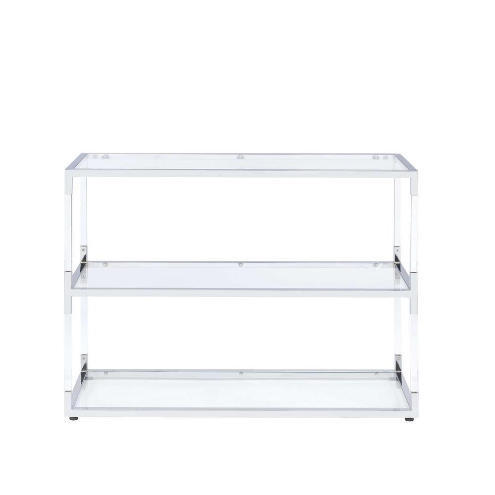 Glass console table with shelf raegan chrome acrylic and clear glass console table greyacrylic
