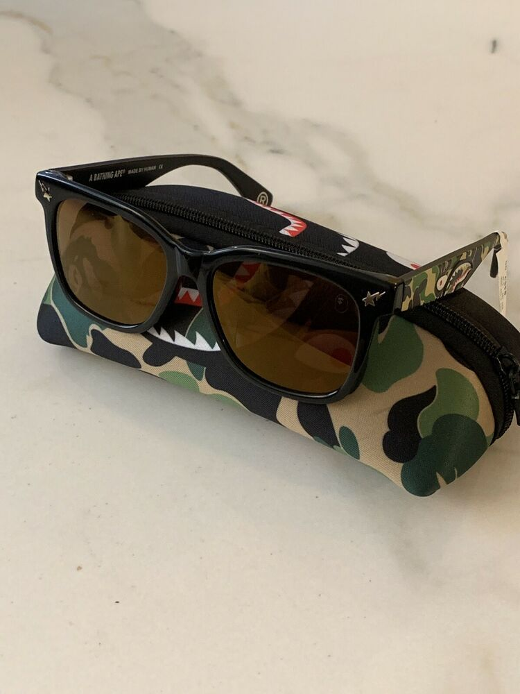 NEW BAPE PARKAS04 Sunglasses BLACK CAMO Gold Lens Bathing