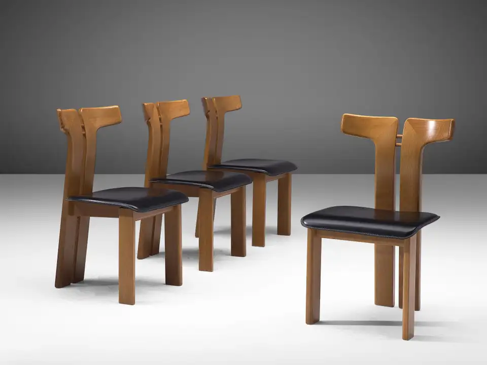 Pierre Cardin Set Of Four Dining Chairs In Ash And Leather Dining Chairs Leather Dining Room Chairs Dining Room Chairs Modern Set of four dining chairs
