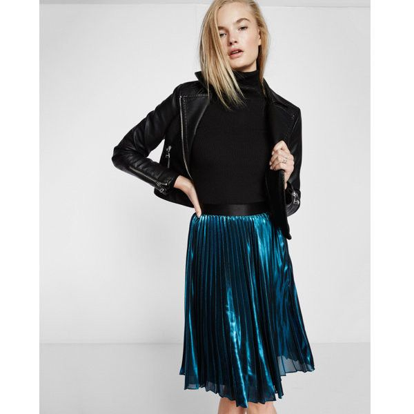 3b534806a8 Express Metallic Pleated Midi Skirt ($77) ❤ liked on Polyvore featuring  skirts, blue, mid length pleated skirt, blue midi skirt, blue pleated skirt,  ...