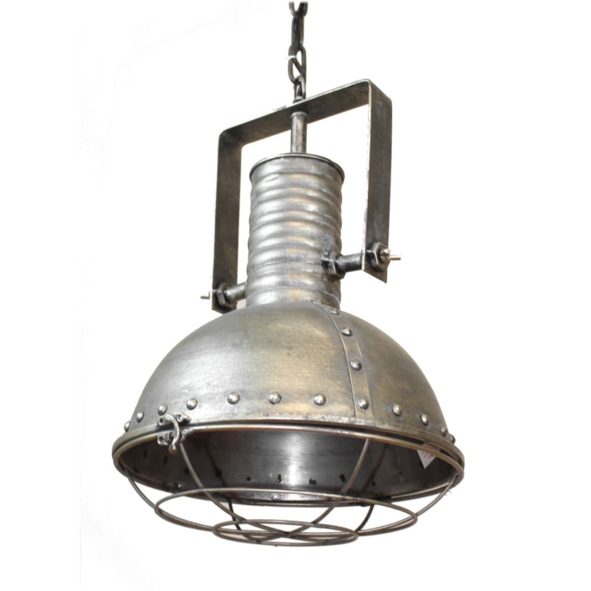 Industrial Caged Pendant With Rivets: Industrial Pendant Factory Dock Light In Natural Steel