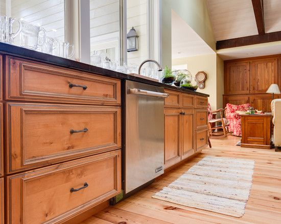 Knotty Alder Kitchen Cabinets love these large drawers for pots and