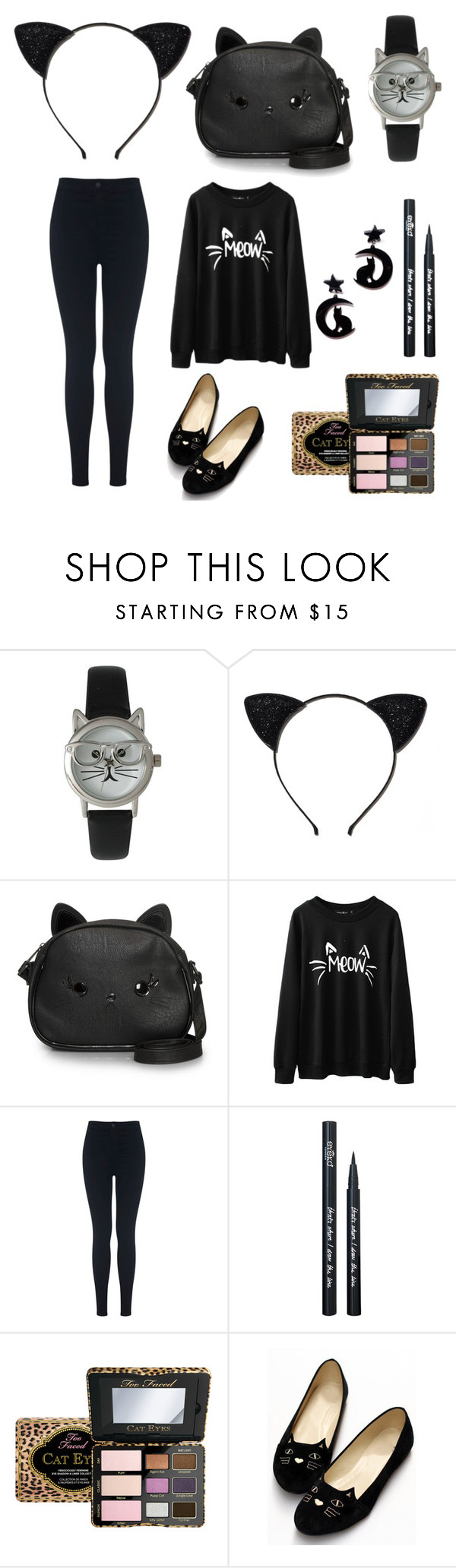 """cat look《meow》"" by cassi-h ❤ liked on Polyvore featuring Olivia Pratt, Felina, Loungefly, Miss Selfridge, Eyeko and Too Faced Cosmetics"