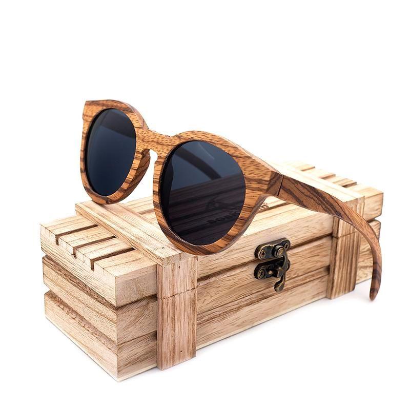 Détails sur Lunettes de soleil homme femme monture bois verres polarisés UV 400 coffret luxe