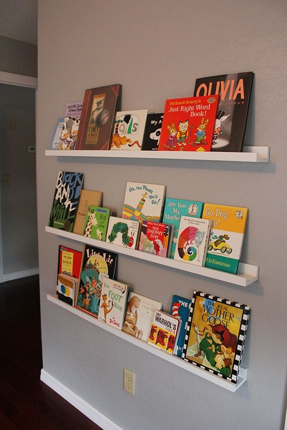 Wall shelves from IKEA, books from .
