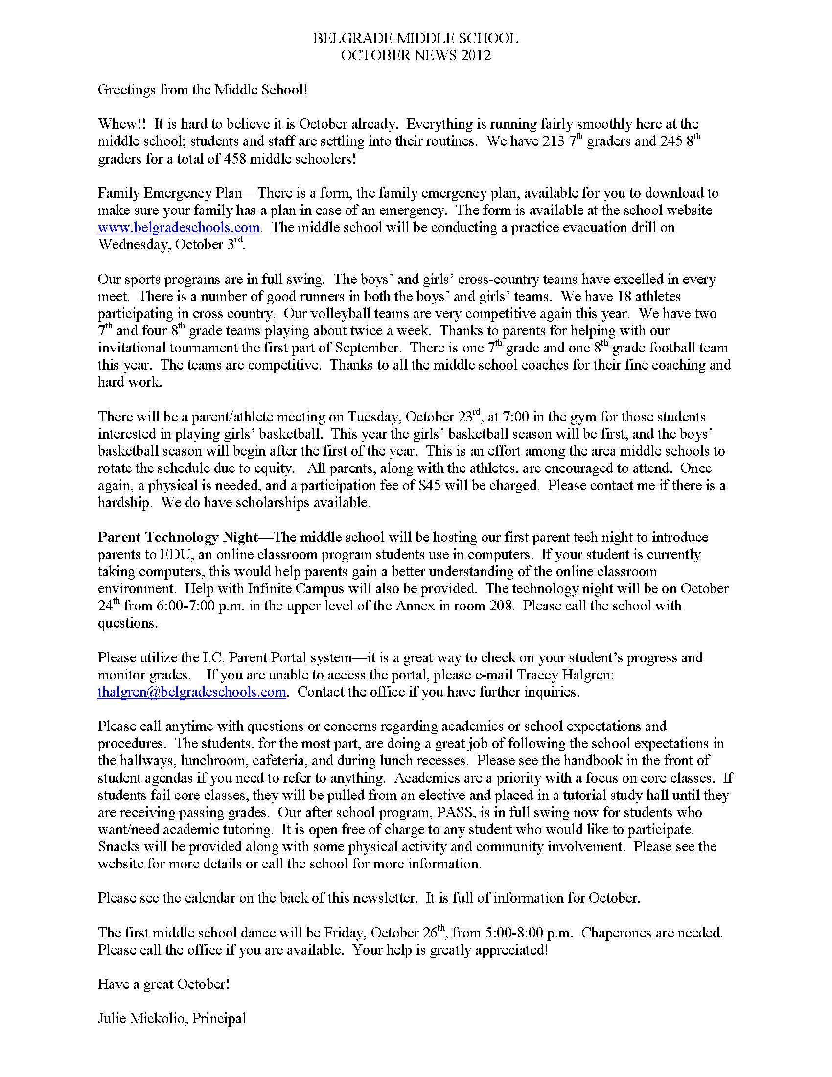 Middle School October Newsletter