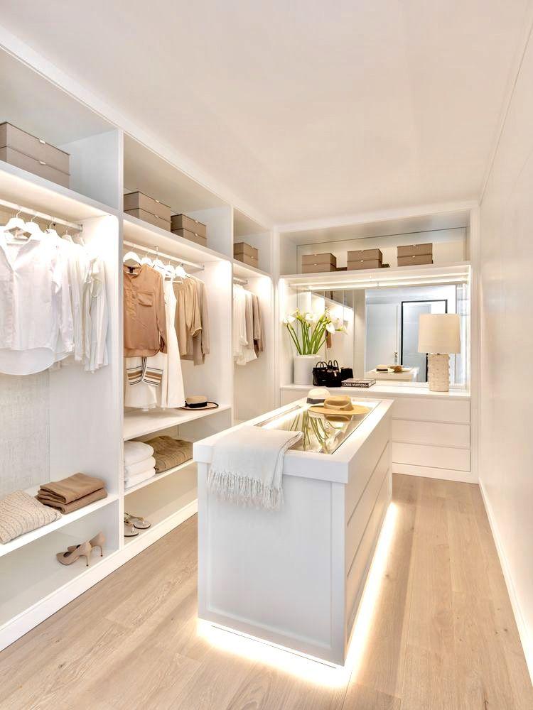Ankleidezimmer + LED-Beleuchtung (Beige/Weiß)