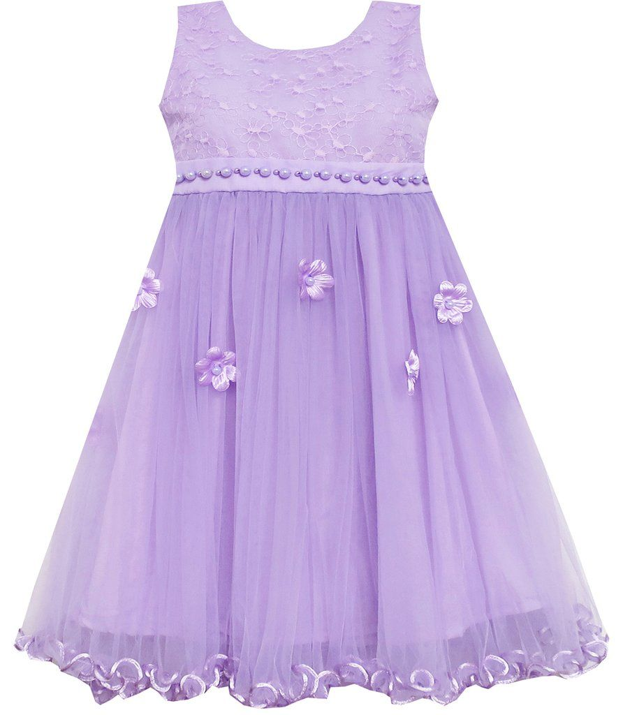 Girls Dress Lace Bodice Hi Lo Maxi Dress With Beading Purple Size 4 ...