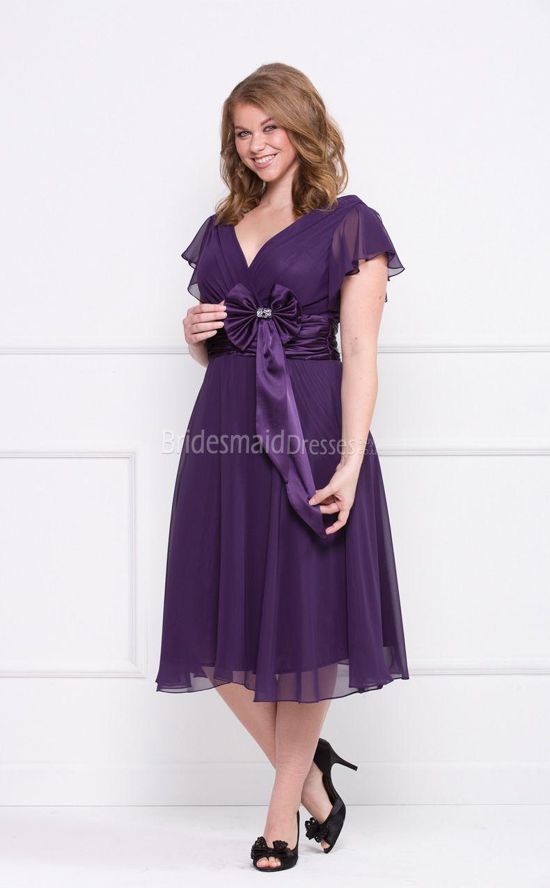 6cbeb702d86 Grape Chiffon Tea-length V-neck A-line Short Sleeve Plus Size Bridesmaid  Dresses(UKPSD03-025)