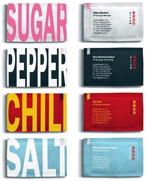 """The sugar and spice business cards of Gitam BBDO, an advertising and creative agency. Each real and edible condiments business card (bag) is meant to represent each varying department and head as """"sweet"""" for sugar, """"sharp"""" for pepper, """"hot"""" for chili and just salty for salt. A unique approach perhaps better suited for restaurants, chefs and caterers."""