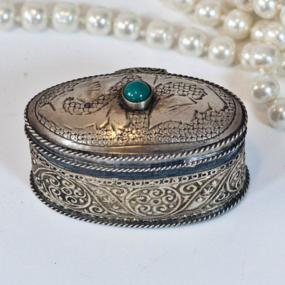 Antique Moroccan Jewelry Box Tiny Ring Jewelry Box Metal Oval
