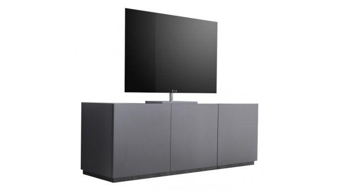 Meuble TV design 3 portes gris mat avec bande wengée Ivo - Meuble Tv Avec Rangement