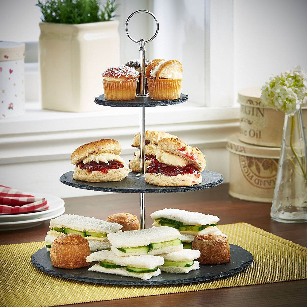 3 Tier Natural Slate Cake Stand Afternoon Tea Wedding Party Tableware Gold Chrom Ebay Tiered Dessert Stand Dessert Stand Tea Time Food