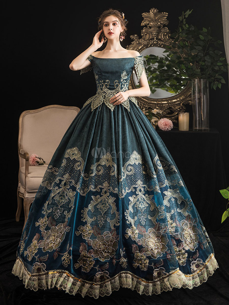 Victorian Dress Costumes Women S Retro Dark Navy Short Sleeves Off The Shoulder Baroque Costumes Dress Marie Antoinette Victoria Era Clothing Party Prom Dress Victorian Dress Costume Victorian Dress Gown Old Fashion [ 1200 x 900 Pixel ]