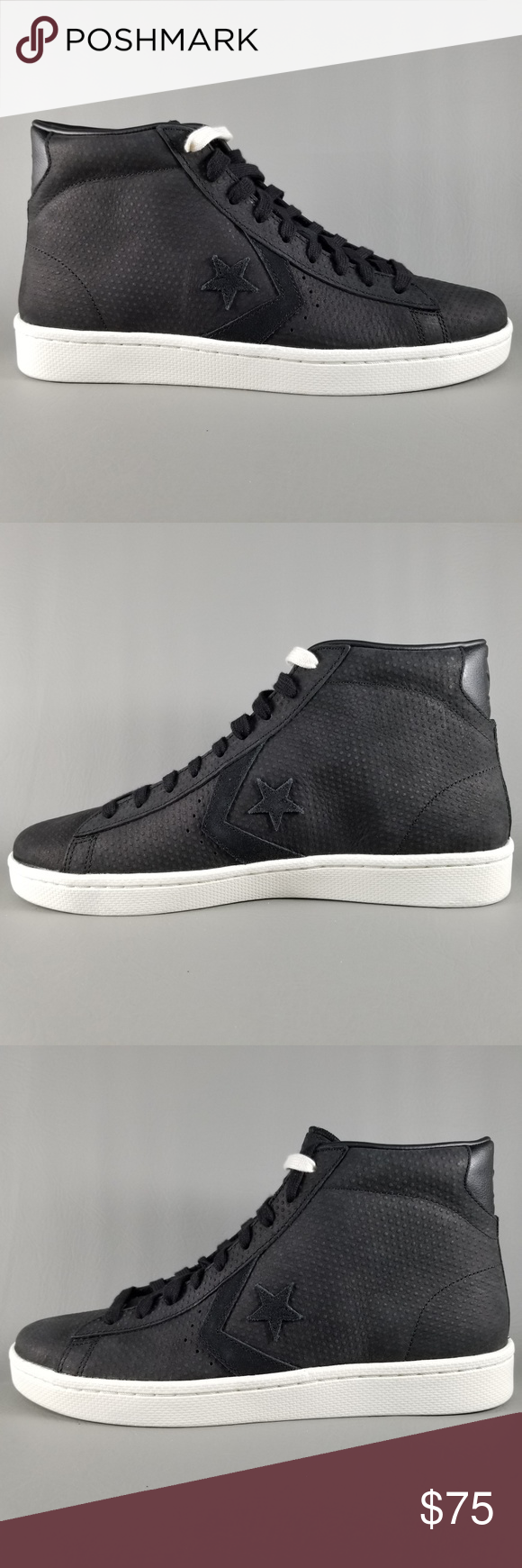 f8b5a00d87d2 Converse One Star Leather Ox Men Shoes Black White Converse One Star  Leather Ox Men s Shoes Style  155647C Color  Black   Black Egret   Does not  include ...