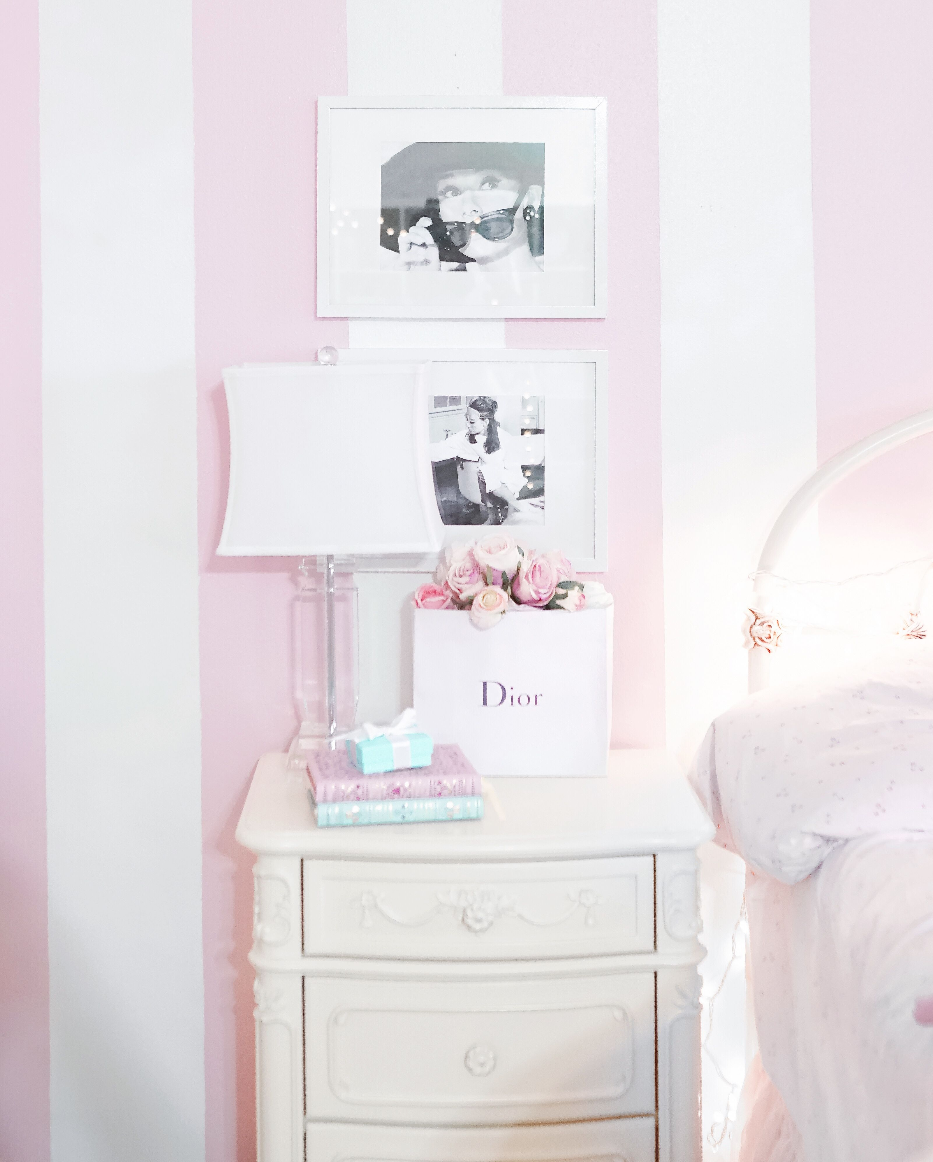 Pink And Purple Srtipes On Accent Wall: Pink And White Striped Wall, Pink Aesthetic #pinkaesthetic