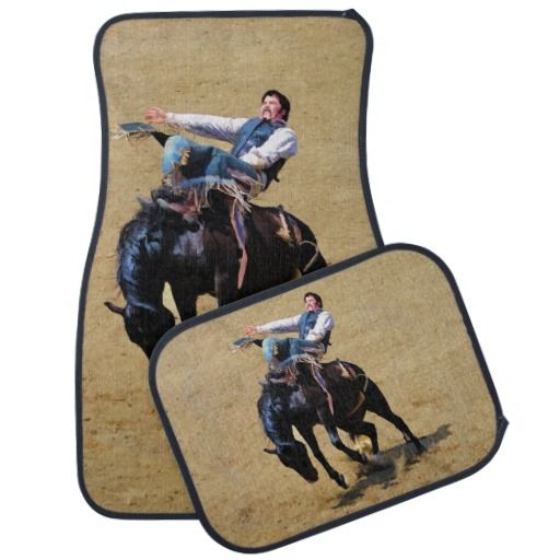 Bucking Bronco Western Rodeo Cowboy Art Car Mats Zazzle Com Cowboy Art Car Mats Art