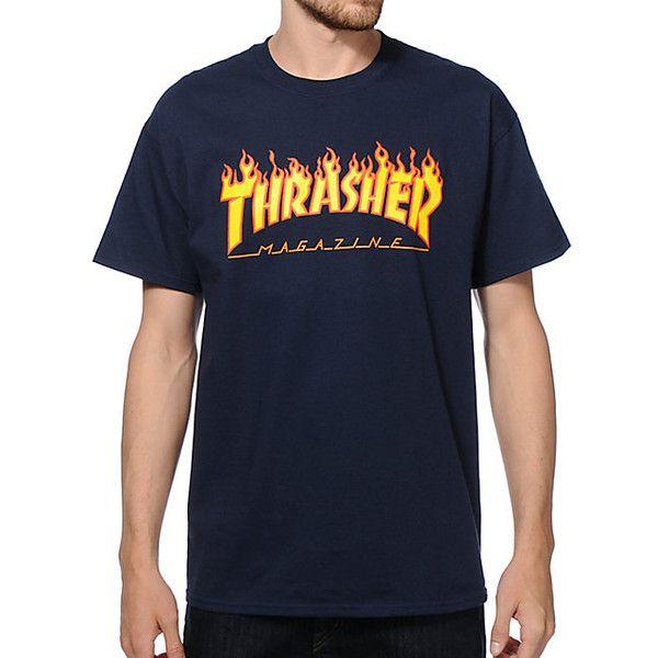 Thrasher THRASHER t shirt flame navy s