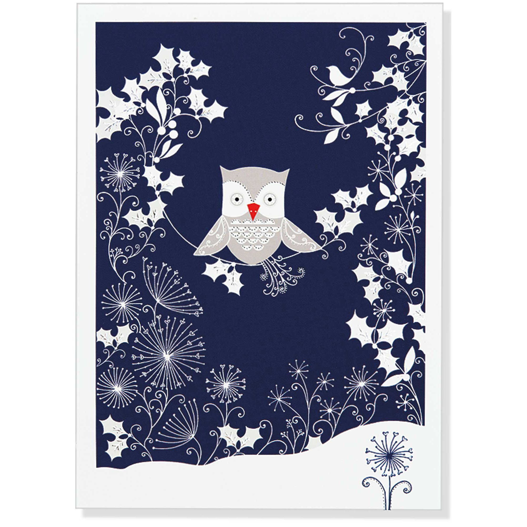 Silver Owl Large Boxed Holiday Cards (Christmas Cards, Greeting ...