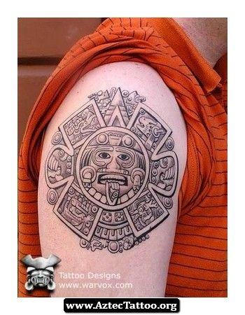 Meaning Of Aztec Calendar Tattoos 09 - http://aztectattoo ... Aztec Calendar Sleeve Tattoos