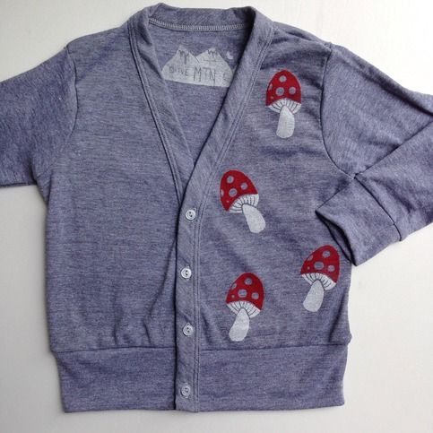 Printed on an American Apparel tri-blend, grey cardigan.  This item was block printed by hand with my original design and non-toxic ink. Each item is unique.