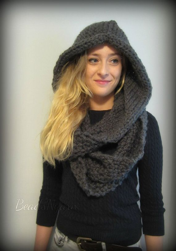 Knitted Hooded Cowl - PDF Knitting Pattern Hooded Scarf | Hooded ...