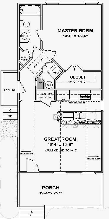 Tiny House Blueprint: Cute, But Would Want A Loft Over The Bedroom As Well  For Guest Space. And Probably Open Shelving Above The Island.
