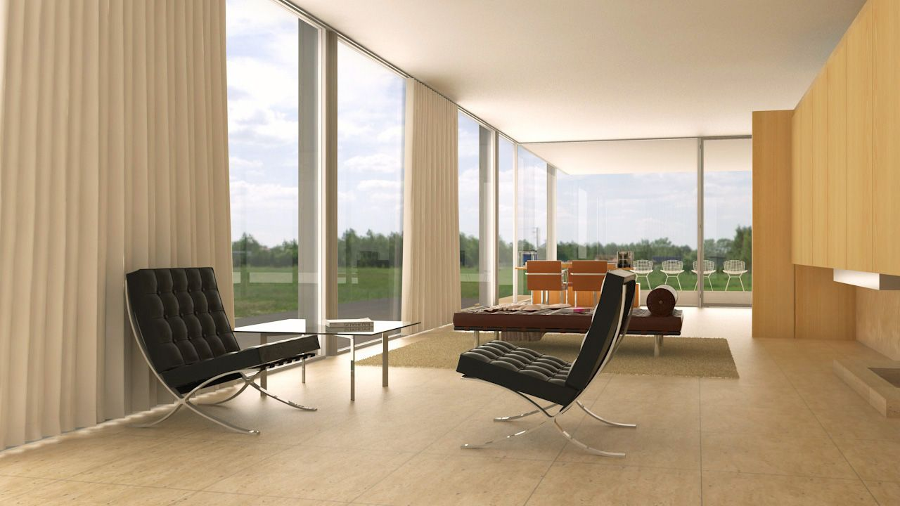 Living Room, Farnsworth House, Draw, 3ds Max + VRay + Photoshop.