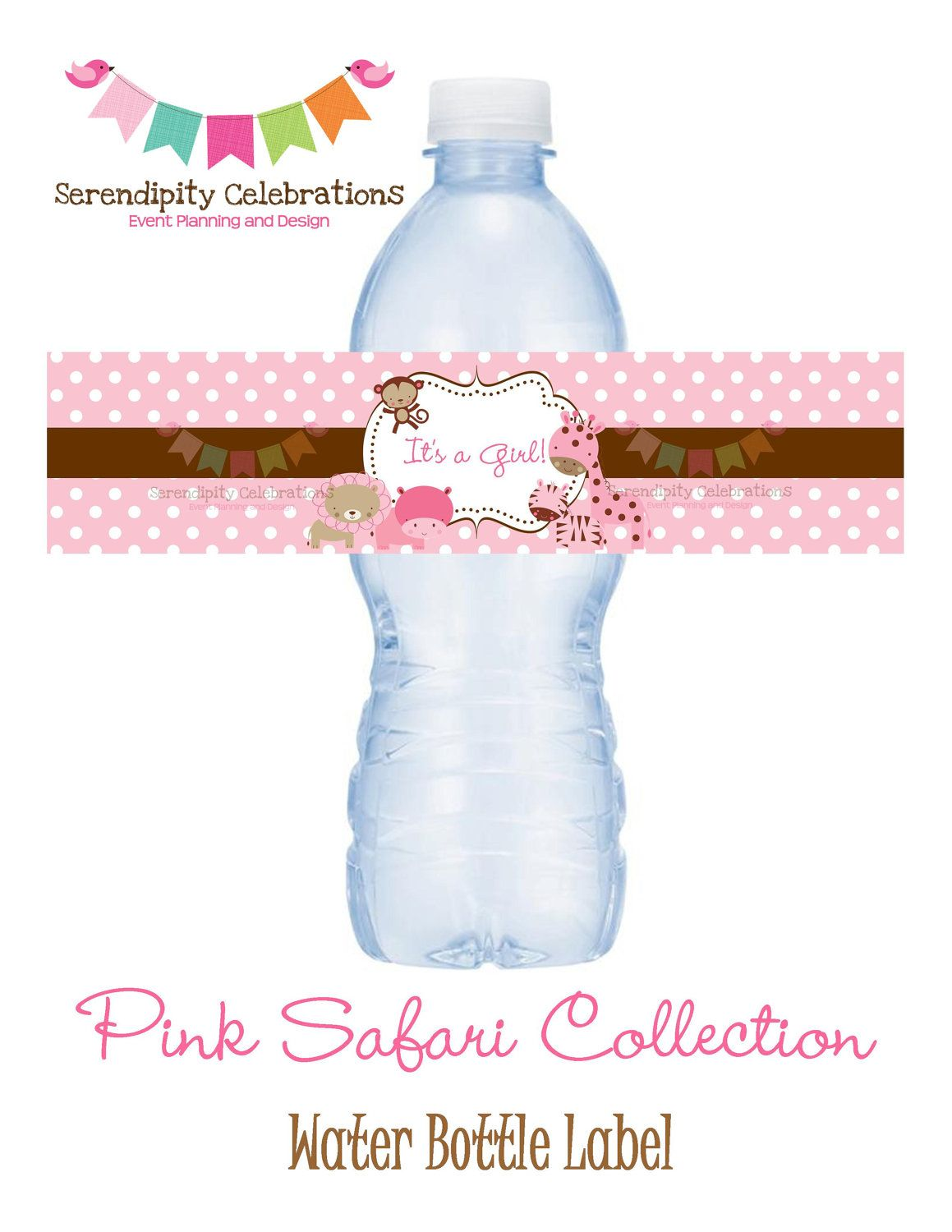 NEW...Pink Safari Collection Water Bottle Label -Digital ...