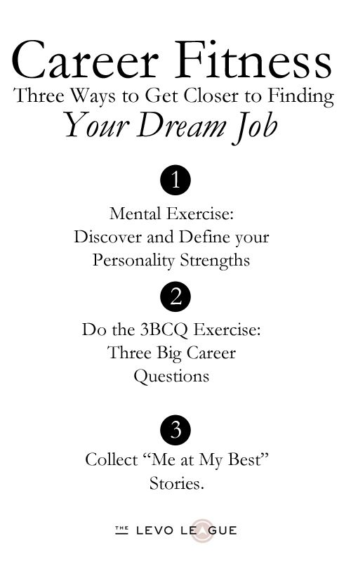 Career Fitness: Three Ways To Get Closer To Finding Your Dream Job | Dream  Job, Third And Searching