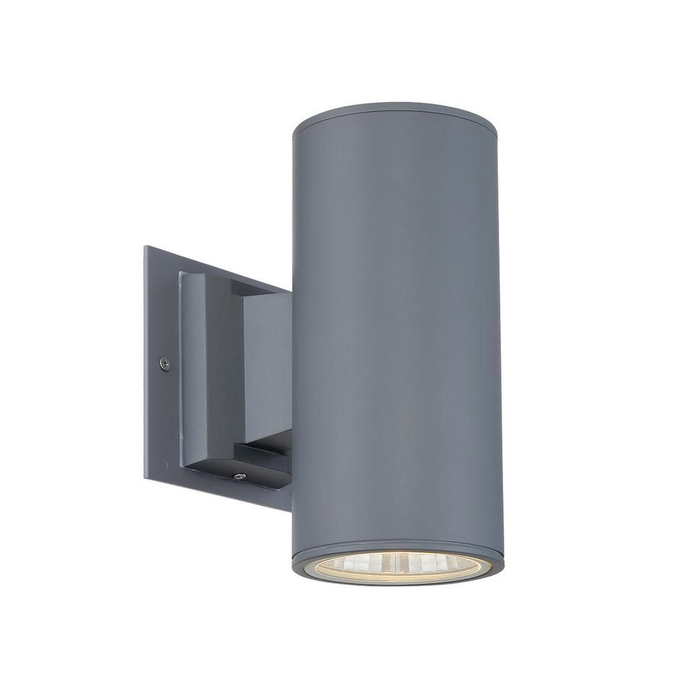 1 Light Grey Integrated Led Outdoor Wall Mount Cylinder Light Modern Outdoor Wall Lighting
