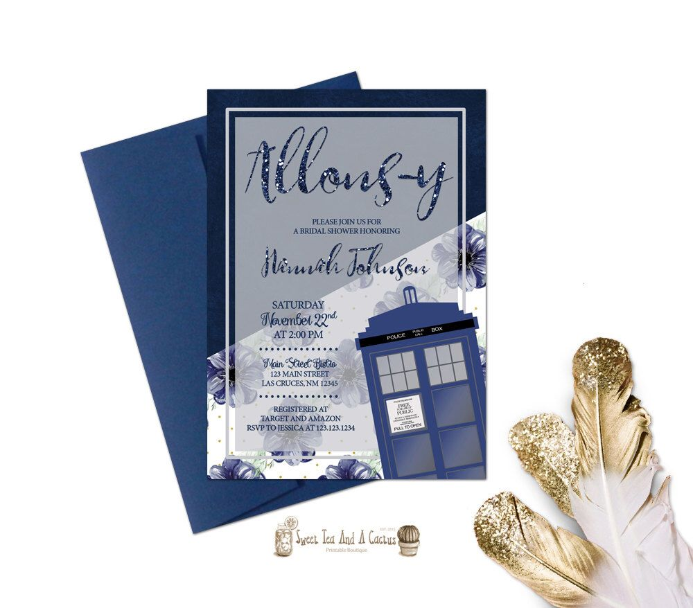 Doctor Who Bridal Shower Invitation Tardis Wedding Invites Printable ...