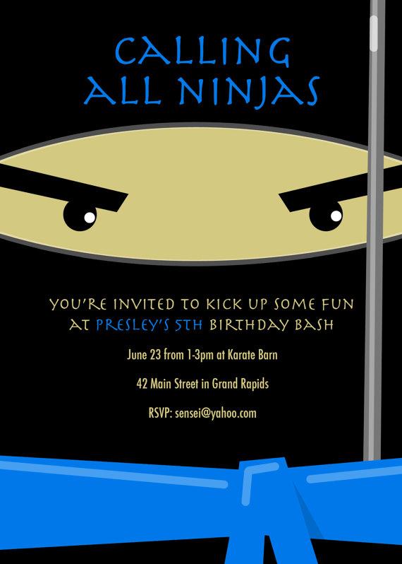 Ninja Karate Kicks Birthday Card Modern Party By LNZart