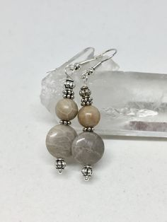 Photo of Petoskey stone silver earrings, Michigan beige fossil coral healing stone jewelry